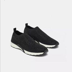 Zara shiny fabric slip on sneakers brand new!